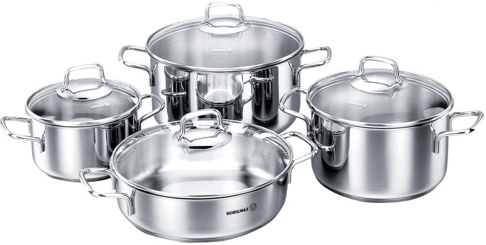 Korkmaz Perla Cookware Set of 8 Pieces C-MX-A1606