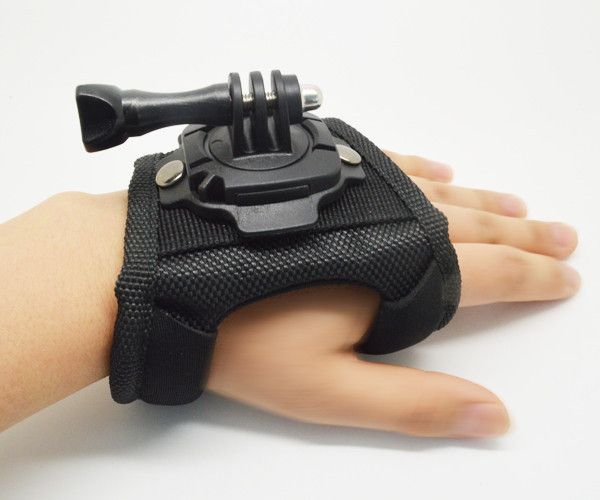 360 Degree Rotation Glove Hand Strap Holder for GoPro Hero 2 3 Plus AEE - Black
