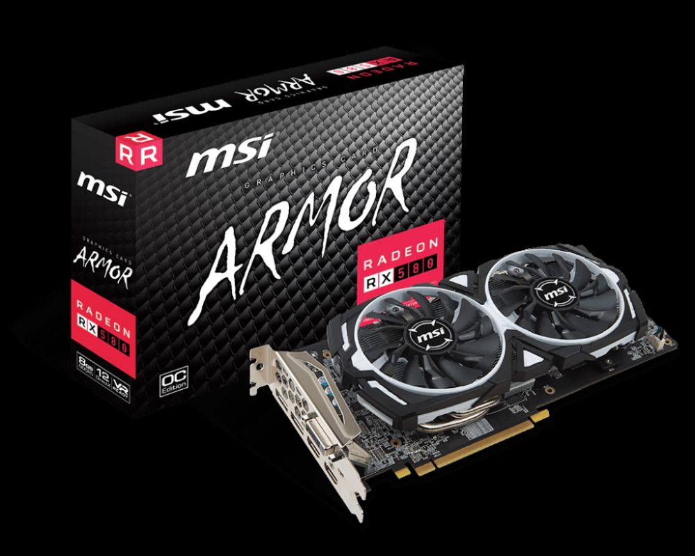 MSI Radeon-RX-580-ARMOR-8G-OC 8GB 256-Bit GDDR5 PCI Express x16 HDCP VR Ready CrossFireX Support Gaming Video Graphics Card
