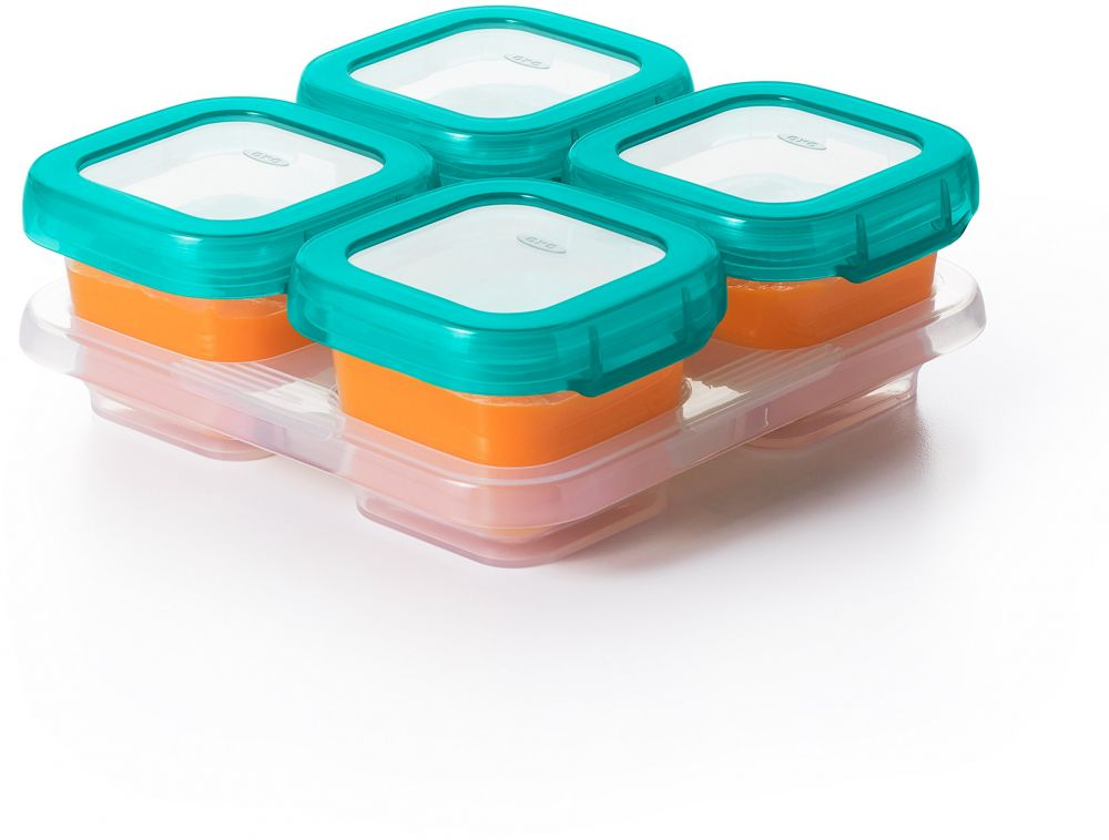 OXO Tot Baby Blocks Food Storage Containers, Teal, 4 Ounce