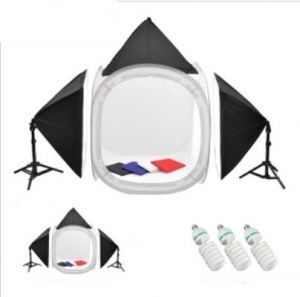 Photography Kit - 80x80cm Tent 50x70cm Soft Box With Soft Lights (150W) 4 pcs backgrounds