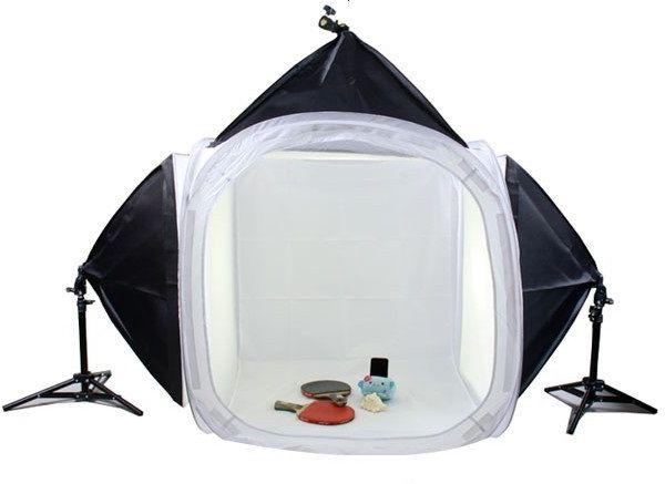Photography Kit - 80x80cms Soft Box Tent 60x60cms Soft Lights (150W) backgrounds