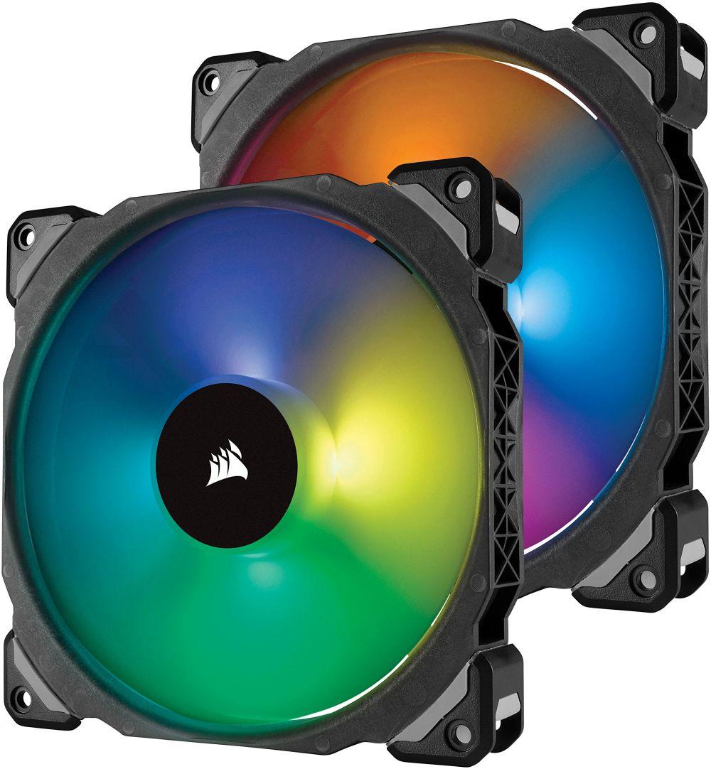 Corsair ML140 Pro 140mm Premium Magnetic Levitation RGB LED PWM Fan with Lighting Node Twin Pack (CO-9050078-WW)