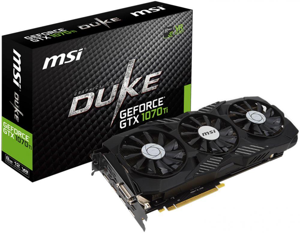 MSI GeForce GTX 1070 Ti DUKE 8G 8GB GDDR5, 256-bit, PCI-E x16 3.0, VR Ready SLI Support Graphic Card - 912-V330-224