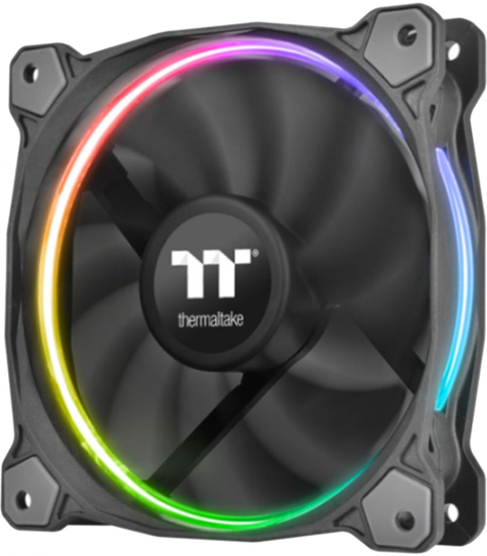 Thermaltake 14 RGB Premium Edition 140 mm Software Enabled Circular RGB LED Ring Case and Radiator 3 Fan Pack - CL-F051-PL14SW-A