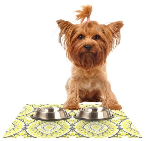 "Kess InHouse Miranda Mol ""Yellow Tessellation"" Feeding Mat for Pet Bowl, 18 by 13-Inch"