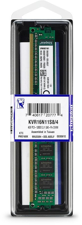 Kingston 4GB DDR3 PC3-12800 1600MHz Non-ECC CL11 Desktop Memory - KVR16N11S8 - 4