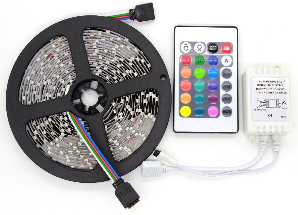 Non-waterproof Flexible RGB Multicolored LED Light Strip Model 3528 With Remote Control Panel