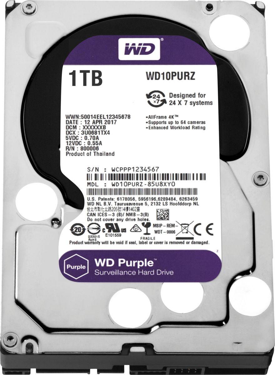 """WD Purple 1TB Surveillance Hard Disk Drive 3.5"""""""" Sata WD10PURZ"""