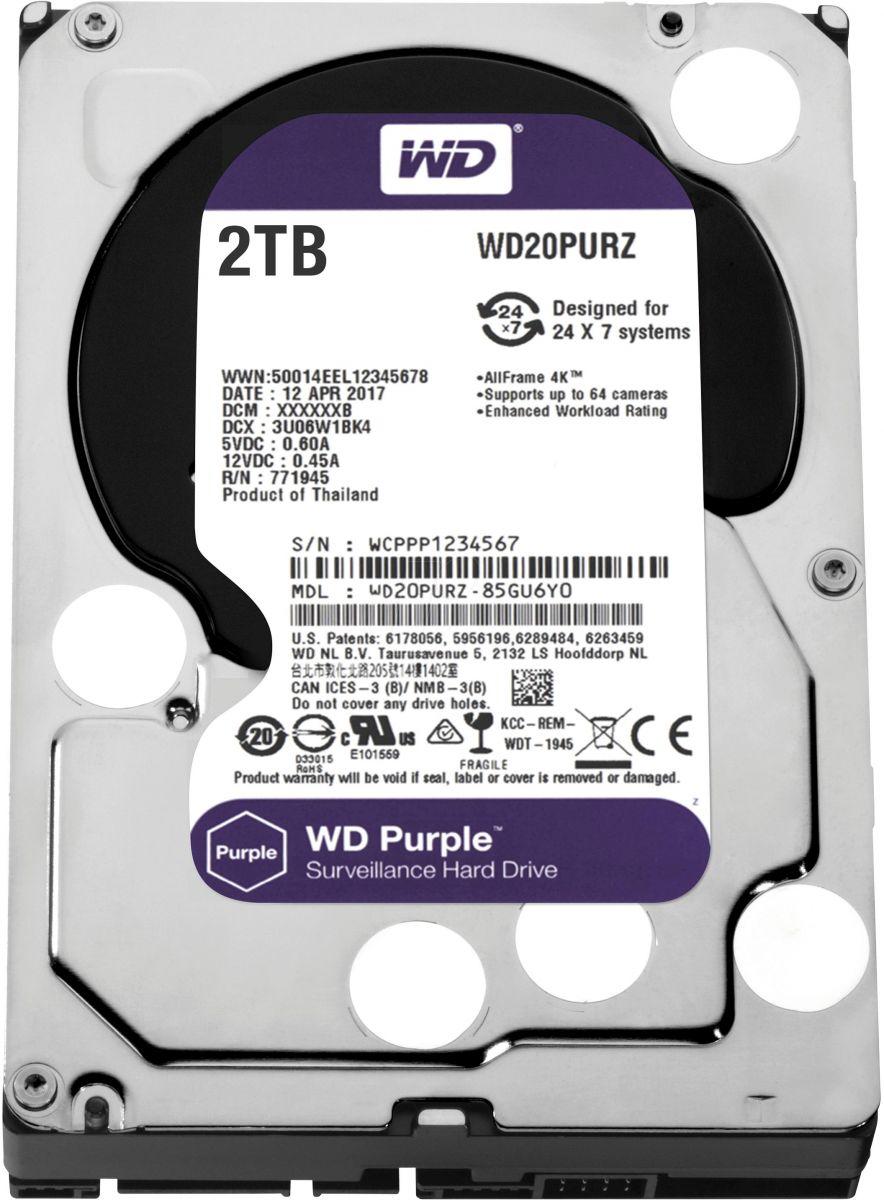 WD Purple 2TB Surveillance Hard Disk Drive 3.5 Inch Inch Sata WD20PURZ