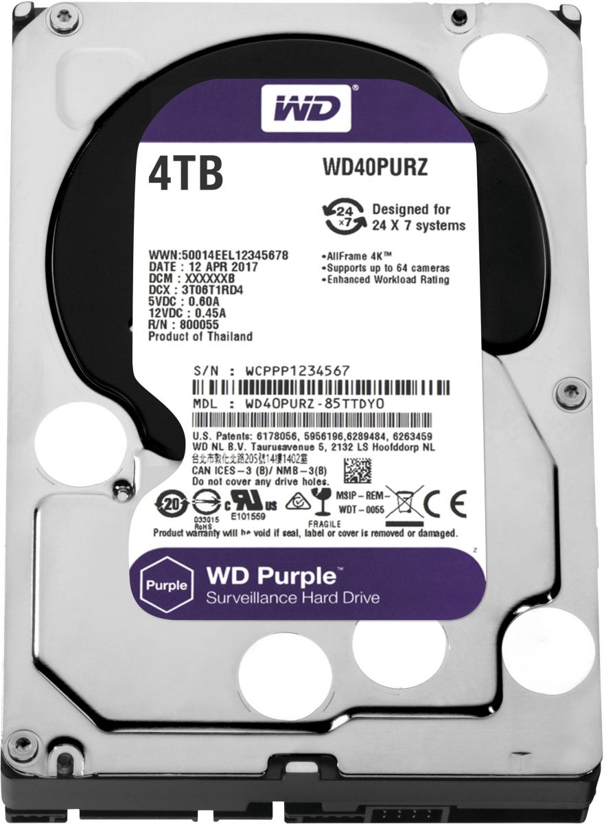 WD Purple 4TB Surveillance Hard Disk Drive 3.5 Inch Inch Sata WD40PURZ