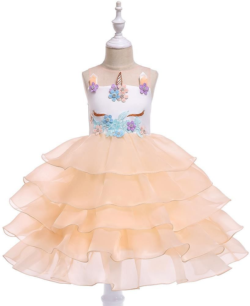Flower Girl Unicorn Mesh Champagne Princess Dress 6-7Y