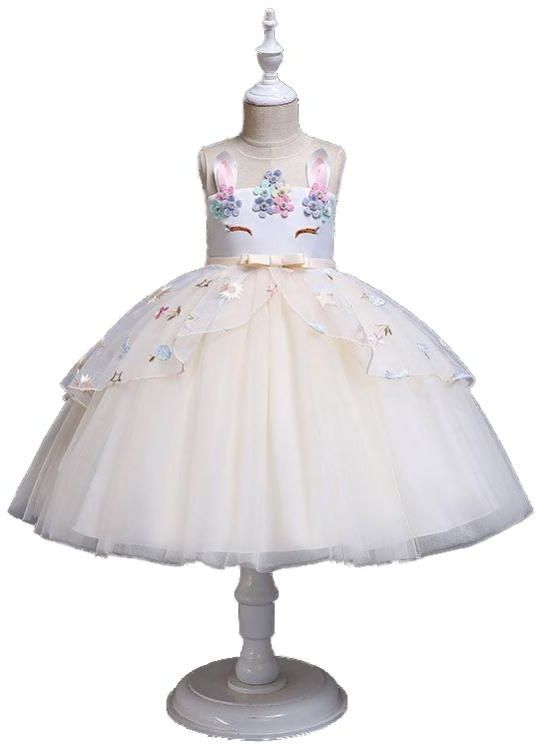 Flower Girl Unicorn Princess Dresses Champagne Gold 45Y