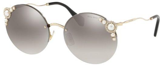 Miu Miu Women's 0MU52TS VW75O0 60 Sunglasses, Pale Gold/Grey Silver