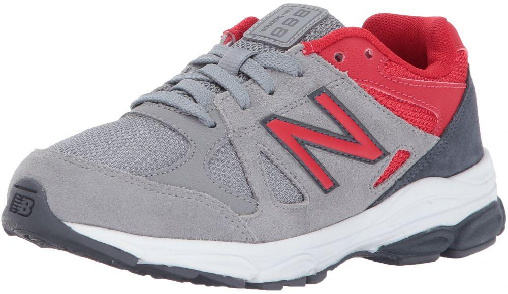 New Balance Boys' KJ888, Grey/Red, 2 Medium US Infant
