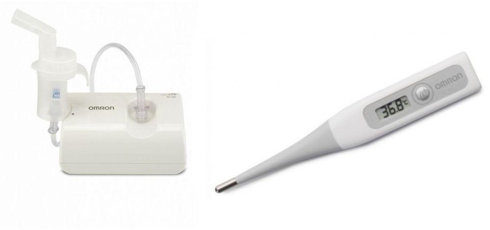 جهاز نيبولايزر لتوسيع الشعب الهوائية مع ترمومتر رقمي فليكس تمب من اومرون