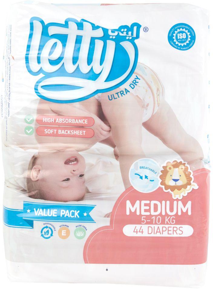 ليتي ، حفاظات للأطفال جفاف مطلق ، متوسط ، 10-5 كيلوغرام ، 44 حفاض