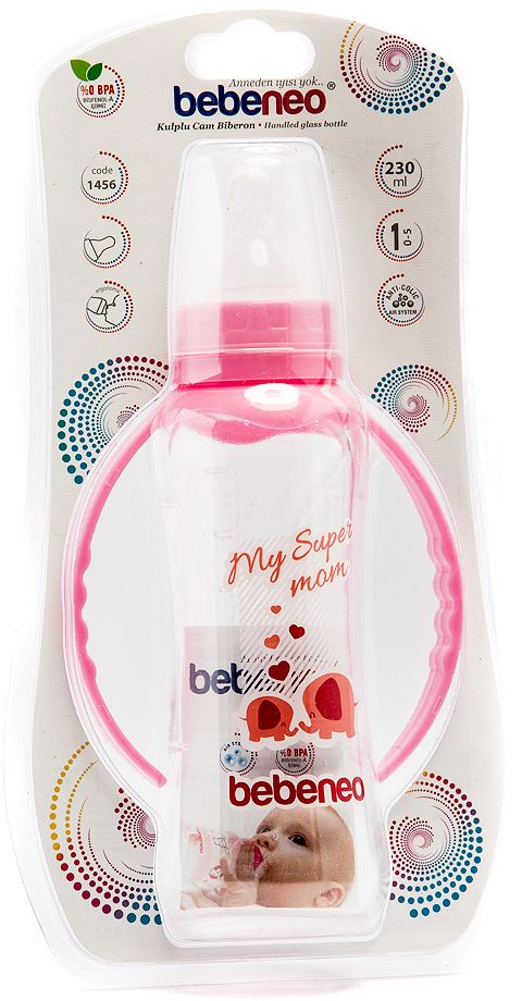 Bebeneo Handled Glass Bottle 230 Ml- 1456 Pink Elephants