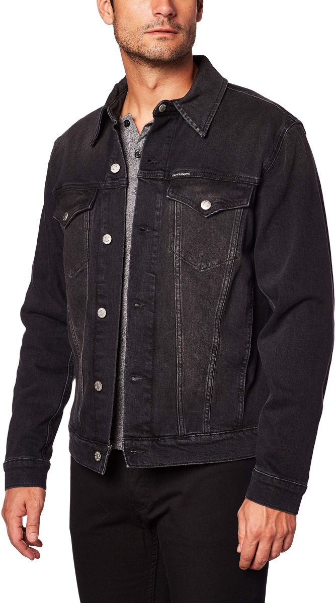 Calvin Klein Jeans Men's FOUNDATION SLIM DENIM JACKET Outerwear, Blue (Ba069 Black Cuff Up Logo 1BY), Medium