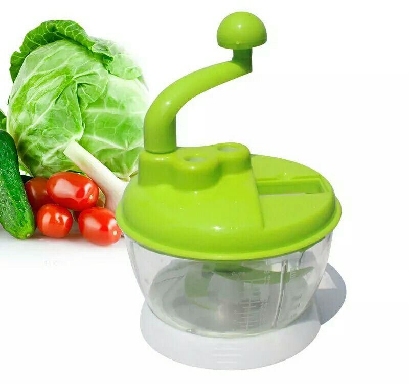 Hand grinder for the kitchen capacity of half a kilo to chop food-and cut fruit and vegetables slices- and chop meat, vegetables, mallow and onions
