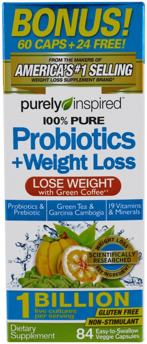 Purely Inspired, Probiotic plus Weight Loss, 84 Easy to Swallow Veggie Capsules