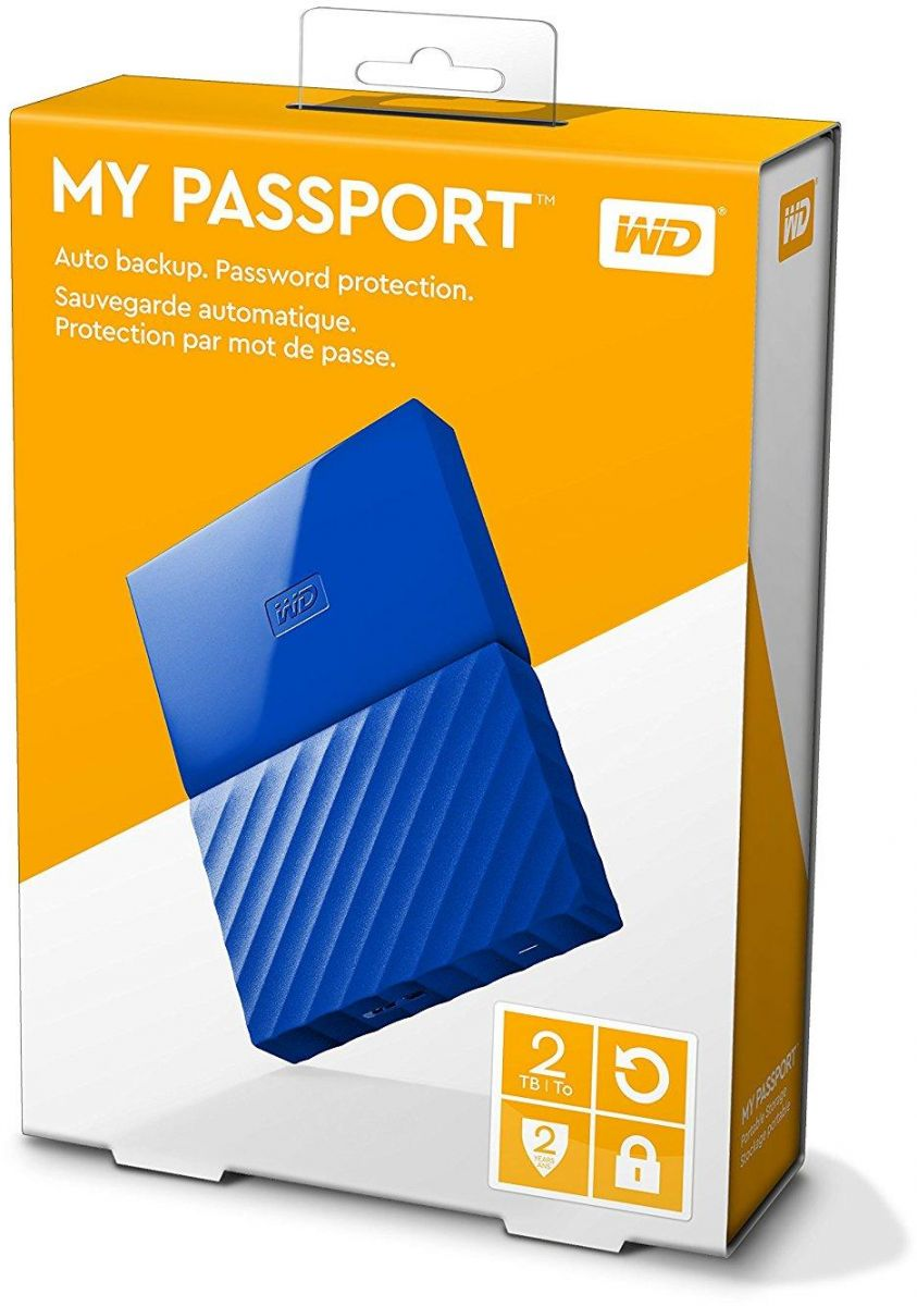 WD 2TB My Passport Portable External Hard Drive USB 3.0 - Blue, WDBYFT0020BBL