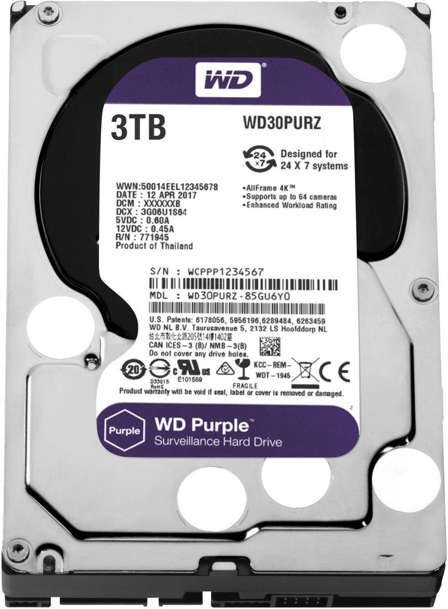 """WD Purple 3TB Surveillance Hard Disk Drive 3.5"""""""" Sata WD30PURZ"""