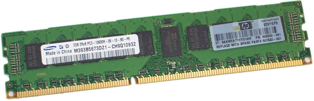 500202-061 - HP - 2GB (1X2GB) 1333MHZ PC3-10600 CL9 DUAL RANK ECC REGISTERED DDR3 SDRAM