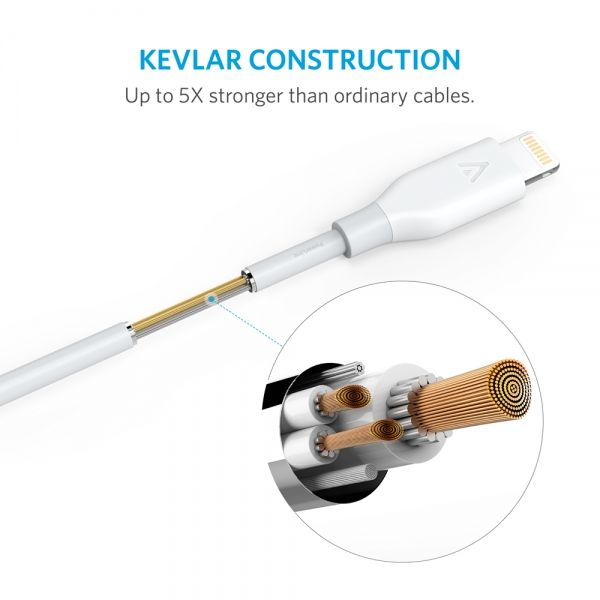 Anker PowerLine Lightning Cable for iPhone 6s/6Plus/5s/5,iPad mini 4/3/2, iPad Pro/Air 2, White, 6ft