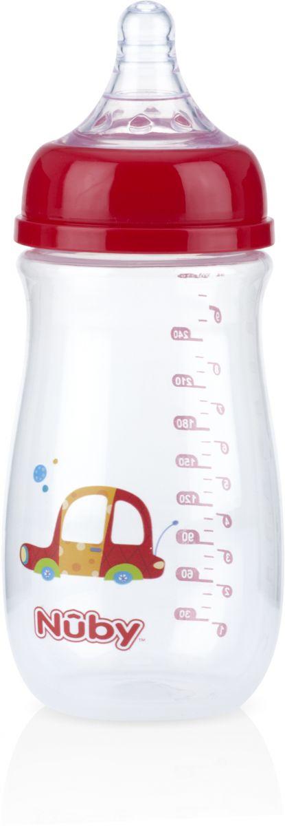 Nuby Soft-Flex Silicone Medium Flow Nipple Bottle Wide Neck 270 ml, Red_1011198