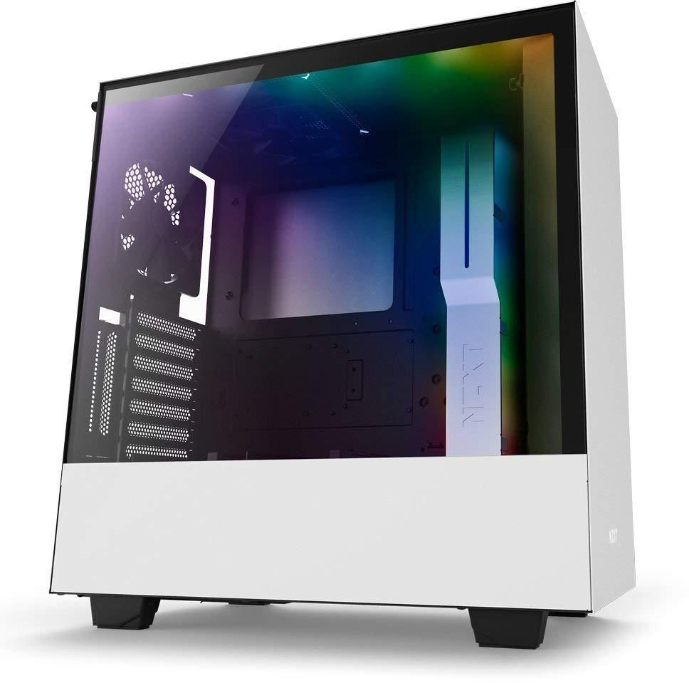 NZXT H500i ATX Computer Case with digital fan control and RGB lighting, White/Black CA-H500W-W1