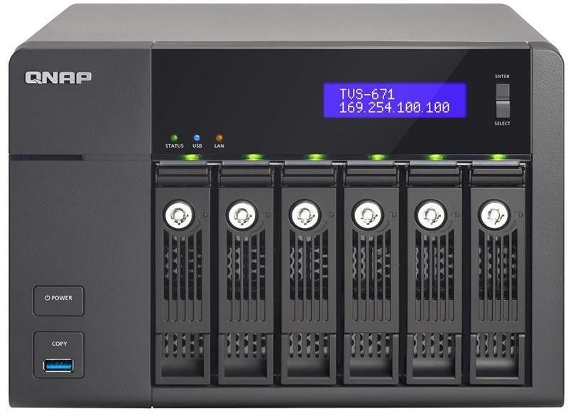 QNAP TVS-671-i3 4G 6 Bay Hotswap NAS - Core i3-4150 3.5GHz Dual Core CPU - 4GB