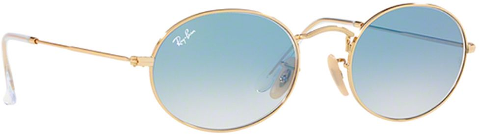 Ray-Ban Oval Sunglasses - Rb 3547N-001/3F - 51-21-145 mm, Blue Lens, For Unisex