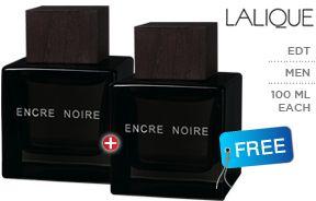 Set Of 2 Lalique Encre Noire Eau De Toilette For Men, 100 ml