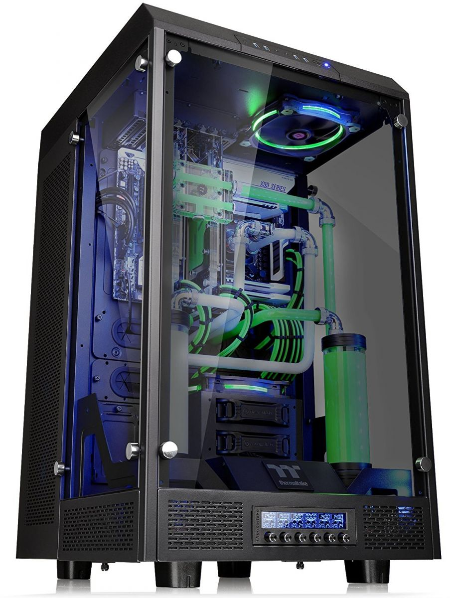 Thermaltake Tower 900 Black Edition Tempered Glass Fully Modular E-ATX Vertical Super Tower Computer Chassis - CA-1H1-00F1WN-00 Black
