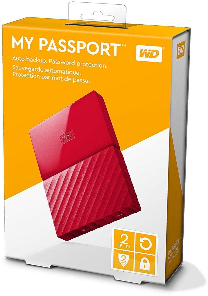 WD 2TB My Passport Portable External Hard Drive USB 3.0 - Red, WDBYFT0020BRD