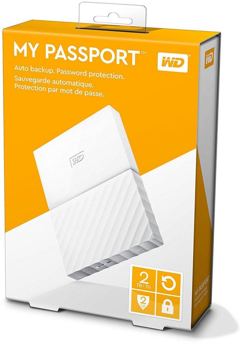 WD 2TB My Passport Portable External Hard Drive USB 3.0 - White, WDBYFT0020BWT