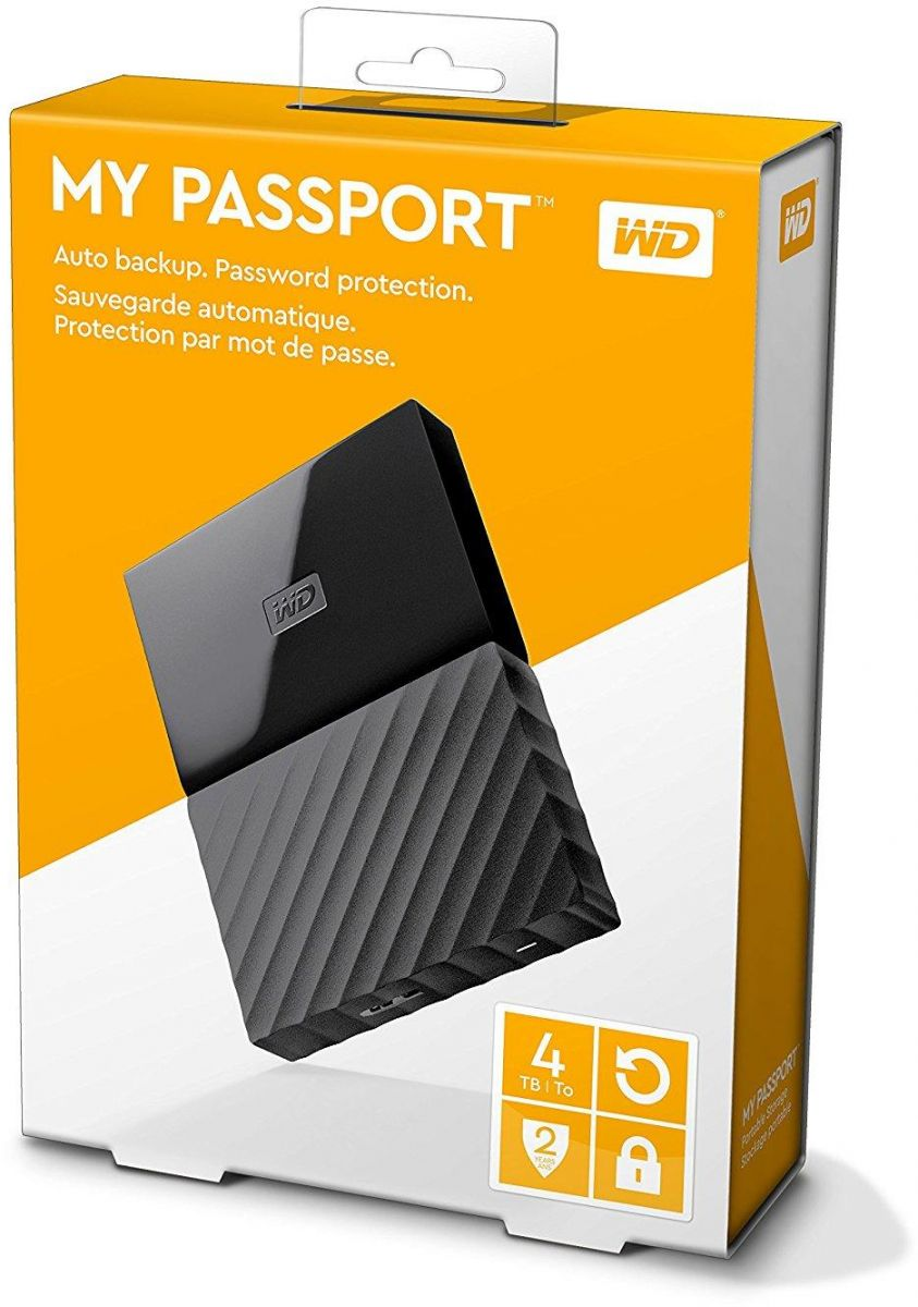 WD 4TB My Passport Portable External Hard Drive USB 3.0 - Black, WDBYFT0040BBK