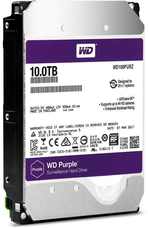 """WD Purple 10TB Surveillance Hard Disk Drive - 5400 RPM 3.5"""""""" SATA 6 Gb/s 256MB Cache-WD100PURZ"""