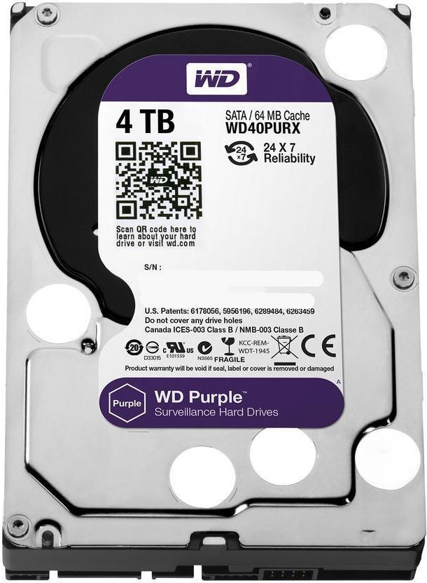 WD Purple 4TB Surveillance Hard Disk Drive - 5400 RPM Class SATA 6Gb/s 64MB Cache 3.5 Inch WD40PURX
