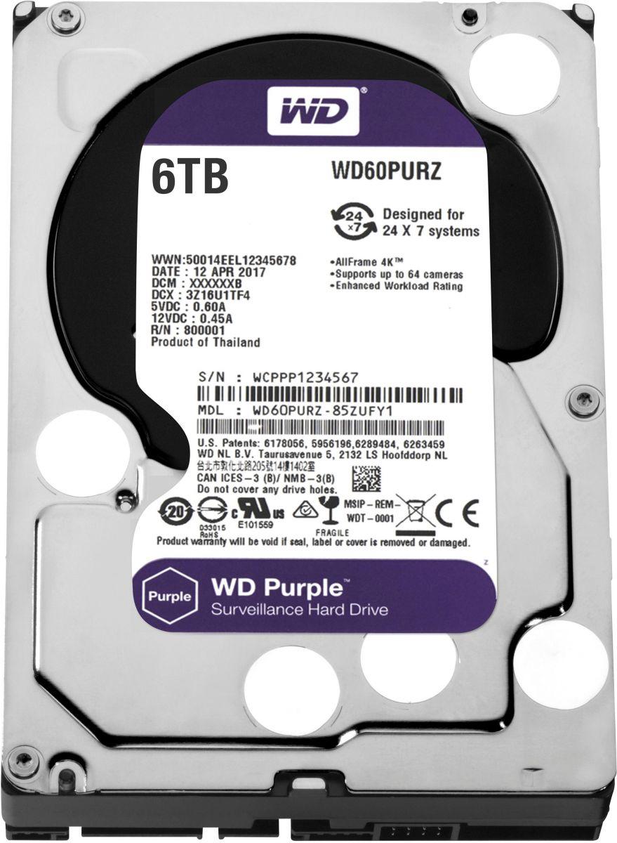 """WD Purple 6TB Surveillance Hard Disk Drive 3.5"""""""" Sata WD60PURZ"""