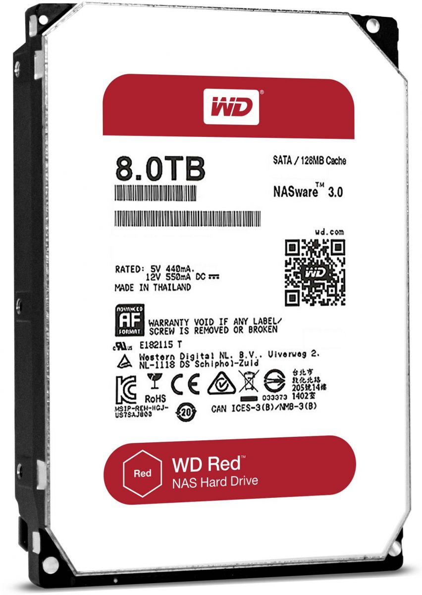 Western Digital 8 TB WD Red NAS Hard Disk Drive - 5400 RPM Class SATA 6 Gb/s 256MB Cache 3.5 Inch - WD80EFAX