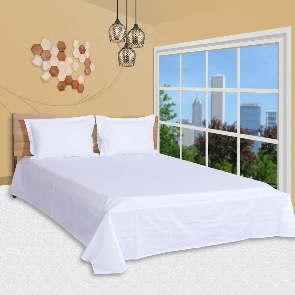 3 Pc Bed Sheet Set, King Size, Poly Cotton 400 Tc - Solid, White Premium Bedsheet With 2 Pillow Covers By Just Linen