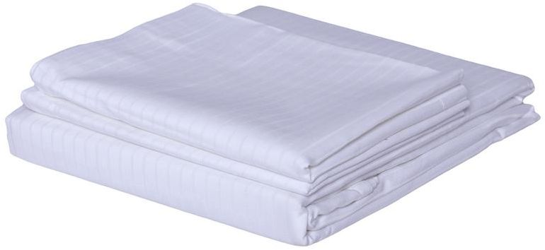 3 Pc Bed Sheet Set, King Size, Poly Cotton 400 Tc - Stripe, White Premium Bedsheet With 2 Pillow Covers By Just Linen