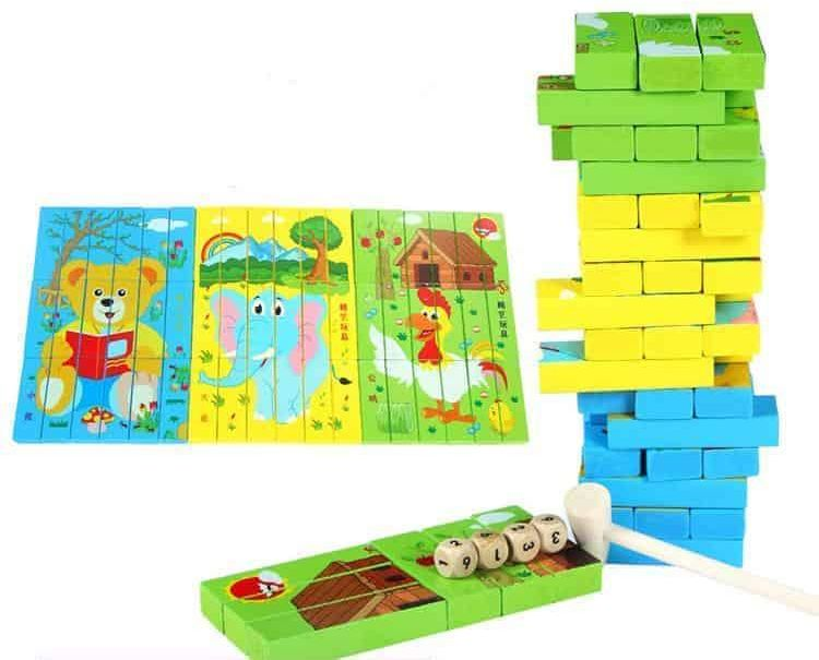 54pieces Wooden Toys Multi-Function Puzzle Jenga Children Early Learning Toys