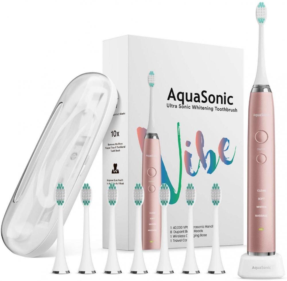 AquaSonic VIBE series Ultra Whitening Electric Toothbrush 8 DuPont Brush Heads Travel Case