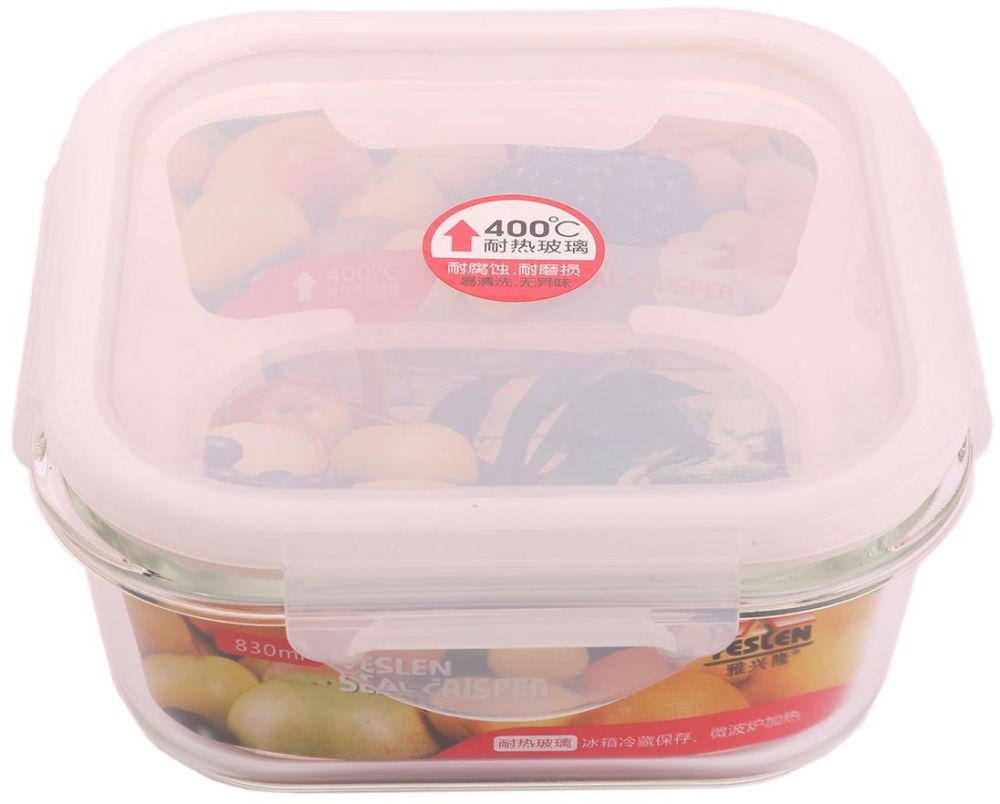 Glass Tray with Plastic Cover - Set of 2 - 830 ML + 540 ML