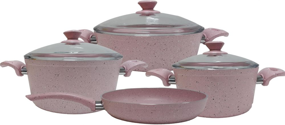 Granite cookware set of 7 pcs with pyrex cover Pink color
