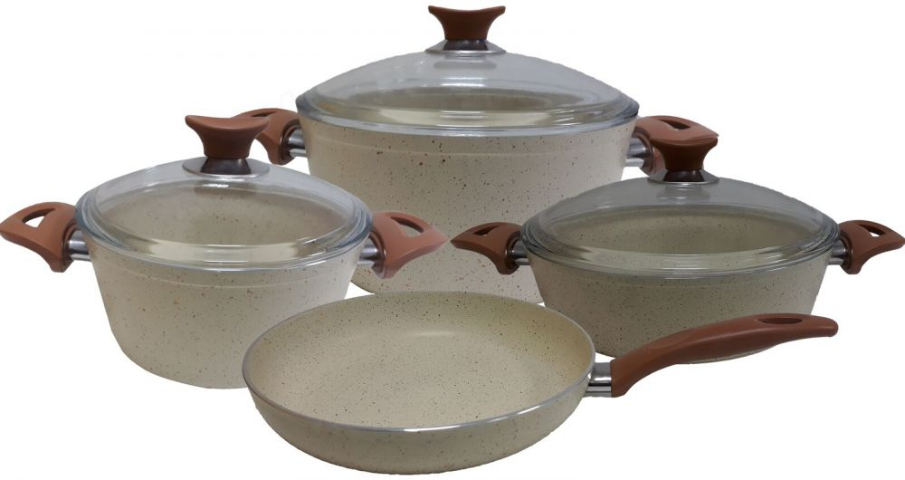 Kunzita 7-Piece Turkish Granite Cookware Set Cream 8 kg - pyrex