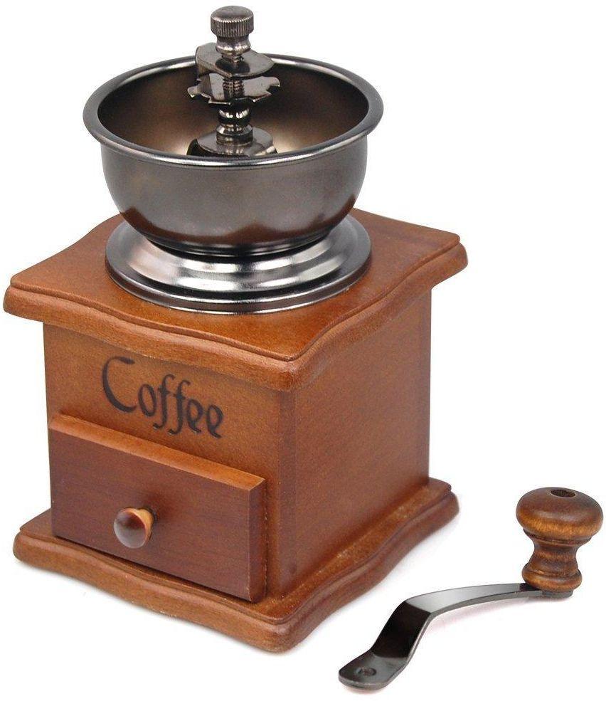 Manual Coffee Grinder - Premium Vintage Style Coffee Grain Burr Mill Machine with Catch Drawer, Conical Burr Mill, Spice Hand Grinding Machine, Hand-crank
